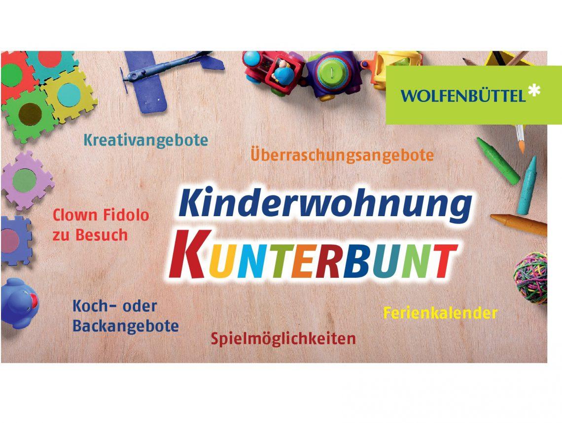 Plakat für die Kinderwohnung mit Spielsachen im Hintergrund und den Angebotendort: Kreativangebote, Clown Fidolo zu Besuch, Koch - oder Backangebote, Spielmöglichkeiten, Überraschungsangebote und Ferienkalender.